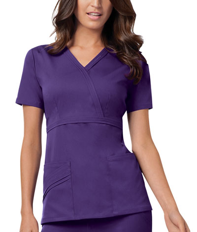 Cherokee Luxe Women's Mock Wrap Top Purple