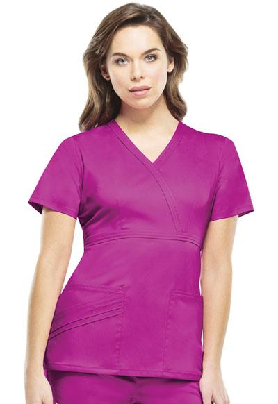 Cherokee Luxe Women's Mock Wrap Top Pink