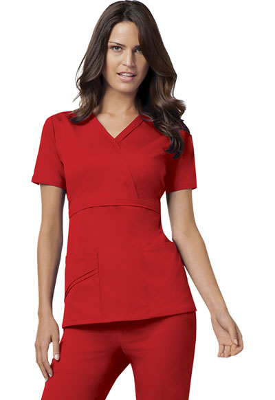 Luxe Women's Mock Wrap Top Red