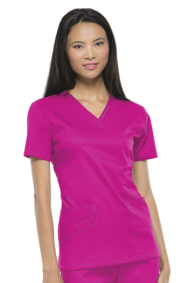 Luxe Women's V-Neck Top Pink