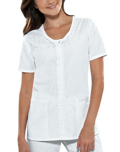 Cherokee Cherokee Fashion Solids Women's V-Neck Embroidred Top White