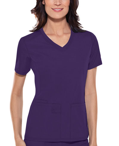 Flexibles Women's V-Neck Knit Panel Top Purple