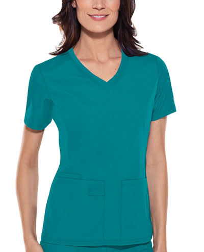 Cherokee Flexibles Women's V-Neck Knit Panel Top Green