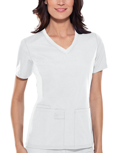 Cherokee Flexibles Women's V-Neck Knit Panel Top White