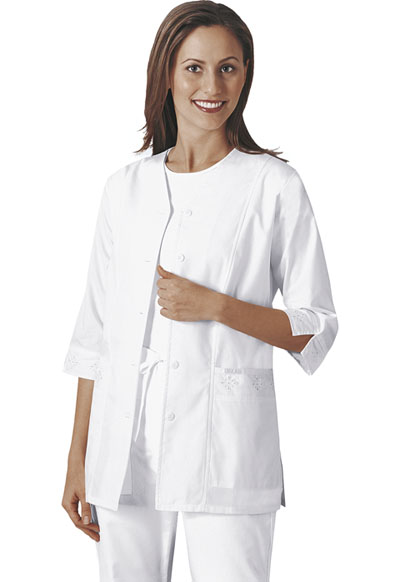 Professional Whites Women's 3/4 Sleeve Embroidered Jacket White
