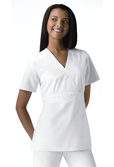 Cherokee Whites Women's Mock Wrap Embroidered Top White
