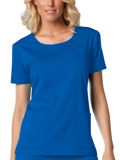 Cherokee Luxe Women's Round Neck Pin-Tuck Top Blue