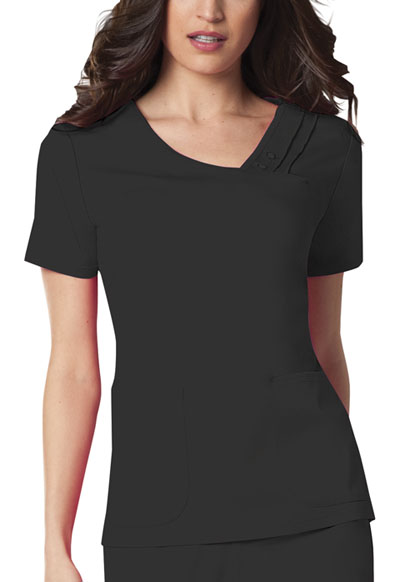 Cherokee Luxe Women's Crossover V-Neck Pin-Tuck Top Black