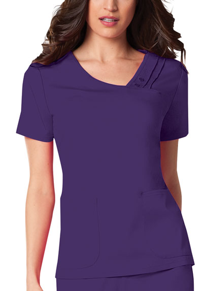 Cherokee Luxe Women\'s Crossover V-Neck Pin-Tuck Top Purple