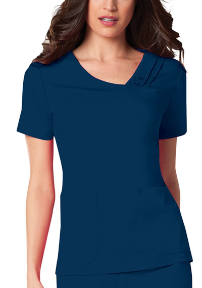 Luxe Women's Crossover V-Neck Pin-Tuck Top Blue