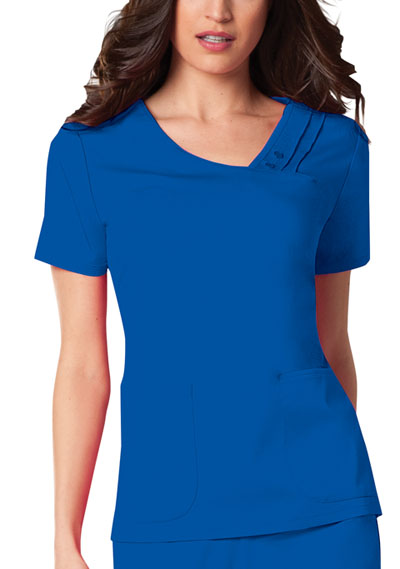 Luxe Women Crossover V-Neck Pin-Tuck Top Blue