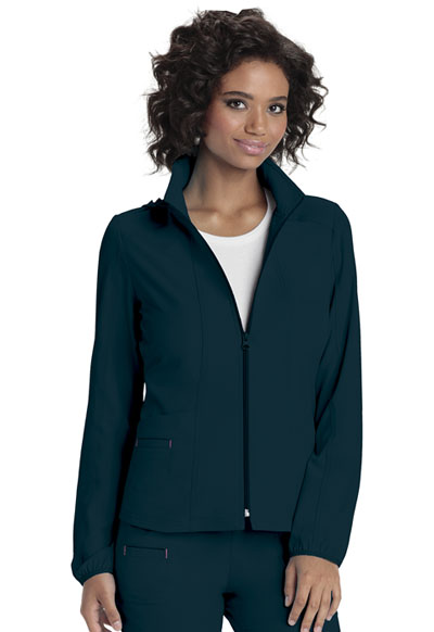 Zip Front Warm-Up Jacket in Caribbean Blue