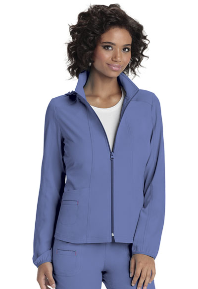 Zip Front Warm-Up Jacket in Ciel