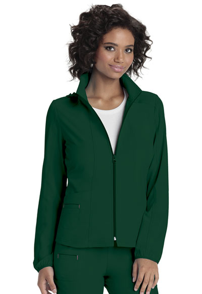 Zip Front Warm-Up Jacket in Hunter
