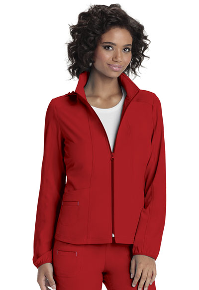 Break on Through Women's Zip Front Warm-Up Jacket Red