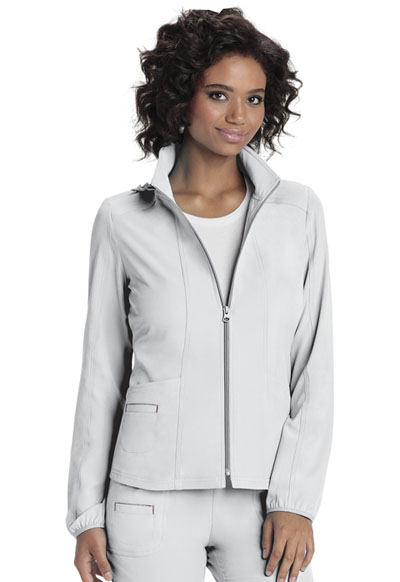 Zip Front Warm-Up Jacket in White