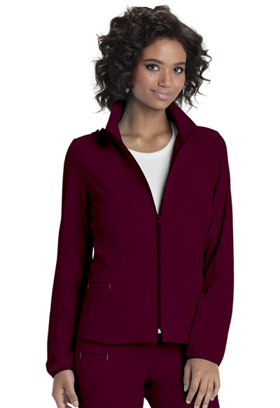 Zip Front Warm-Up Jacket in Wine