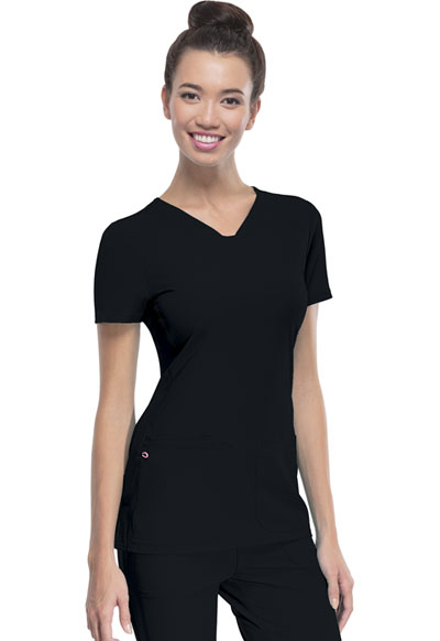 """Pitter-Pat"" Shaped V-Neck Top in Black"