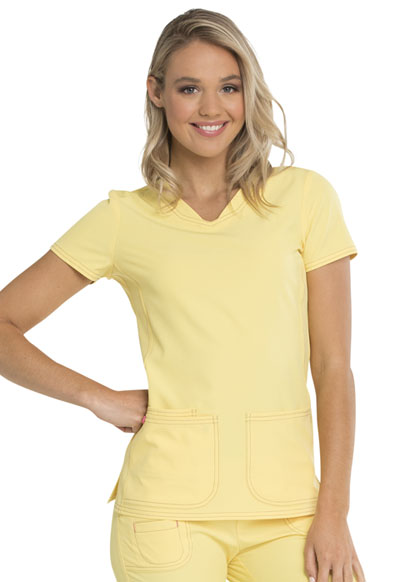 Break on Through Women's Pitter-Pat Shaped V-Neck Top Yellow