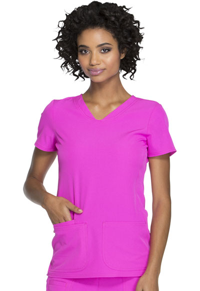 """Pitter-Pat"" Shaped V-Neck Top in Glam Fuschia"