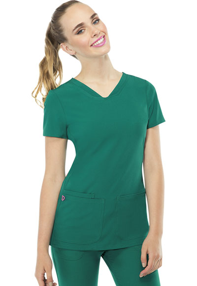 Break on Through by HeartSoul Women's Pitter-Pat Shaped V-Neck Top Green