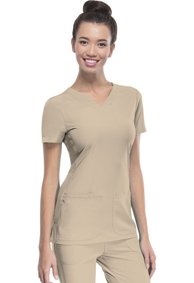 HeartSoul Break on Through Women's Pitter-Pat Shaped V-Neck Top Khaki