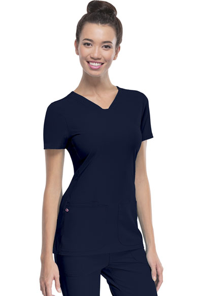 """Pitter-Pat"" Shaped V-Neck Top in Navy"