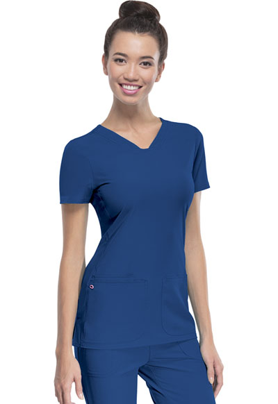Break on Through Women's Pitter-Pat Shaped V-Neck Top Blue