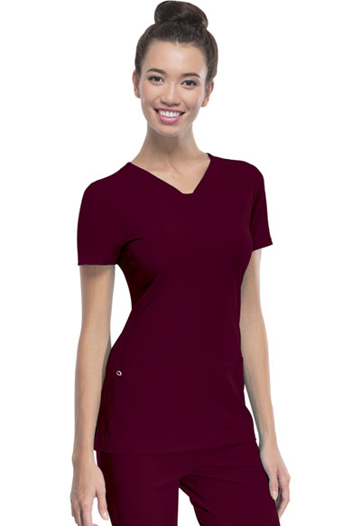 Shaped V-Neck Top in Wine
