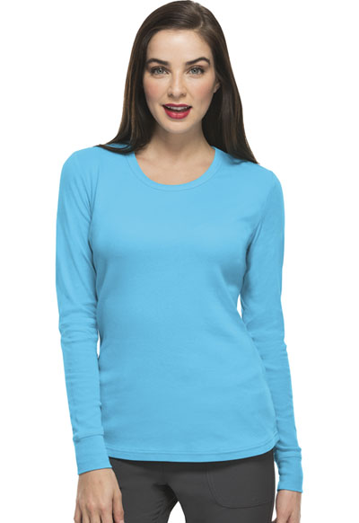 HeartSoul Underscrub Knit Tees Women's Social Butter-Fly Underscrub Knit Tee Blue