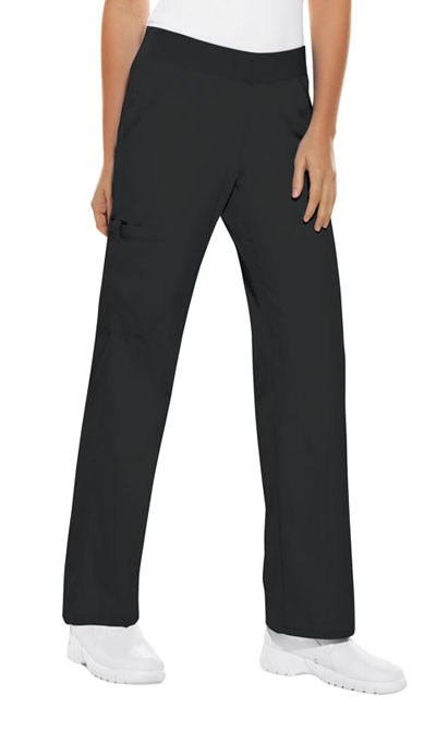 Cherokee Flexibles Women's Mid Rise Knit Waist Pull-On Pant Black