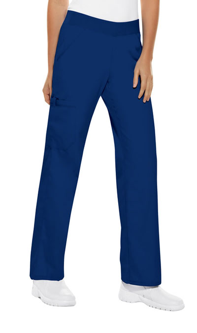 Cherokee Flexibles Women's Mid Rise Knit Waist Pull-On Pant Blue