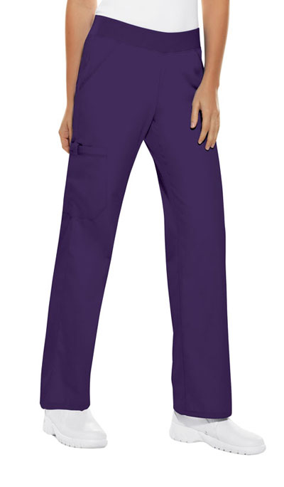 Cherokee Flexibles Women\'s Mid Rise Knit Waist Pull-On Pant Purple