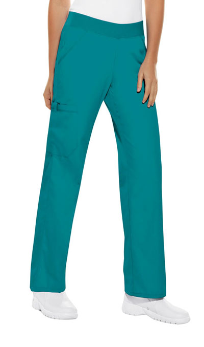 Cherokee Flexibles Women\'s Mid Rise Knit Waist Pull-On Pant Green