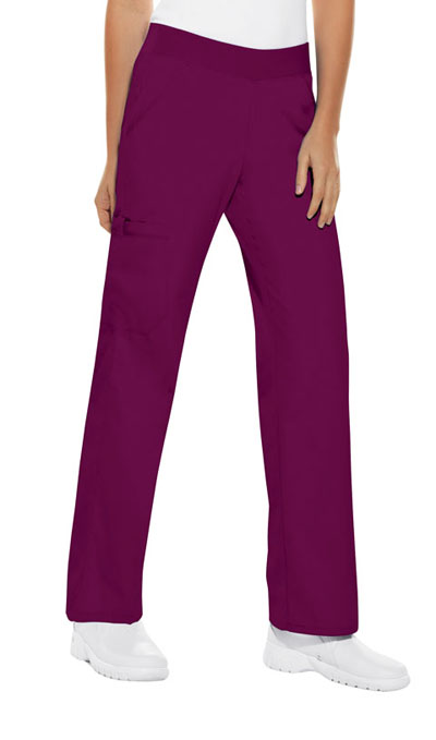 Cherokee Flexibles Women\'s Mid Rise Knit Waist Pull-On Pant Red