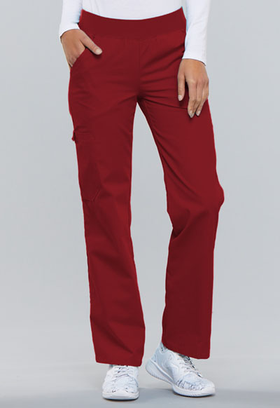 Flexibles Women Mid Rise Knit Waist Pull-On Pant Red