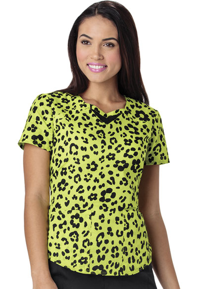 HeartSoul Prints Women's Sweetheart Neck Top Wild You Were Out Sunny Lime