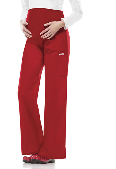 Flexibles Women's Maternity Knit Waist Pull-On Pant Red