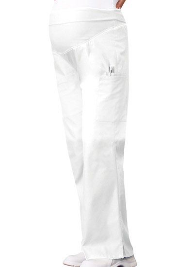 Flexibles Women's Maternity Knit Waist Pull-On Pant White
