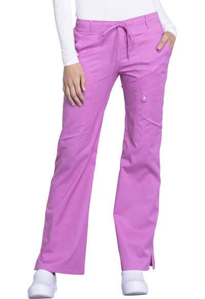 Luxe Women's Low Rise Flare Leg Drawstring Cargo Pant Purple