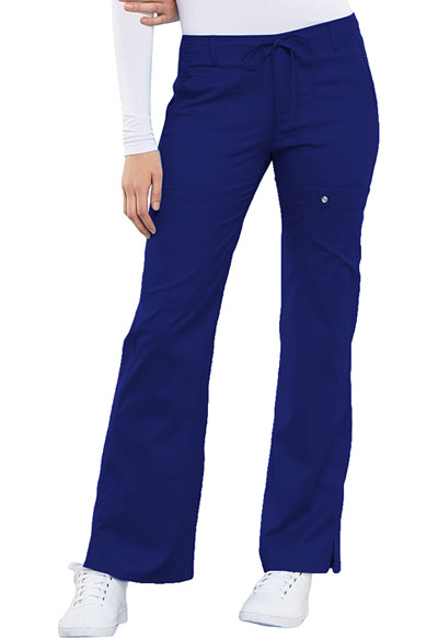 Luxe Women Low Rise Flare Leg Drawstring Cargo Pant Blue