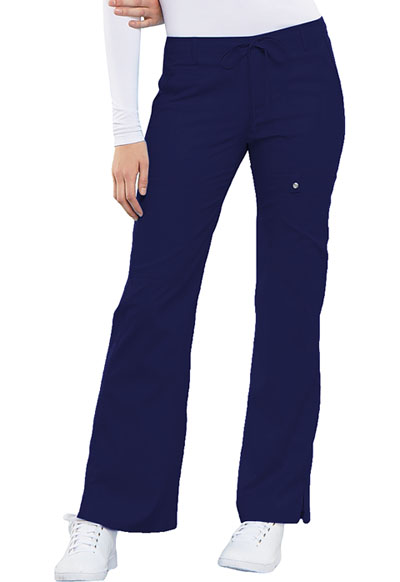 Luxe Women's Low Rise Flare Leg Drawstring Cargo Pant Blue