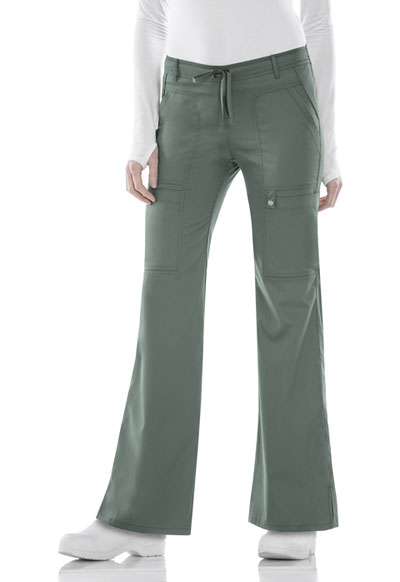 Luxe Women's Low Rise Flare Leg Drawstring Cargo Pant Green