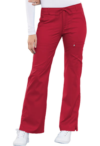 Luxe Women's Low Rise Flare Leg Drawstring Cargo Pant Red