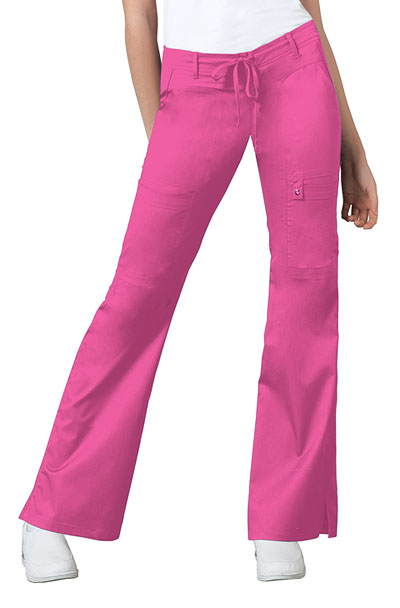 Cherokee Luxe Women's Low Rise Flare Leg Drawstring Cargo Pant Pink