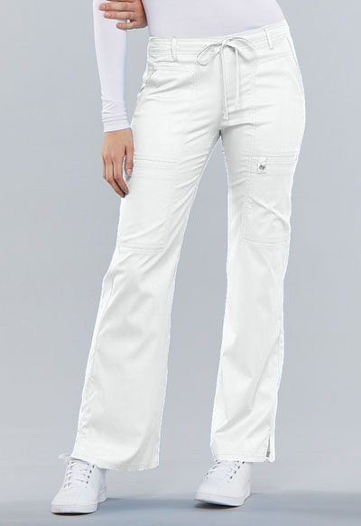Cherokee Luxe Women's Low Rise Flare Leg Drawstring Cargo Pant White