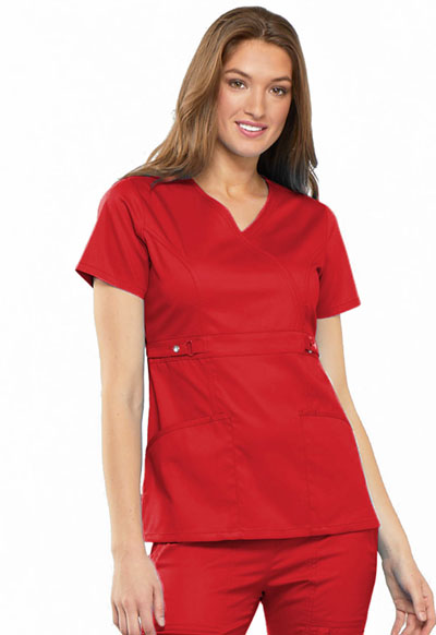 Luxe Women's Empire Waist Mock Wrap Top Red