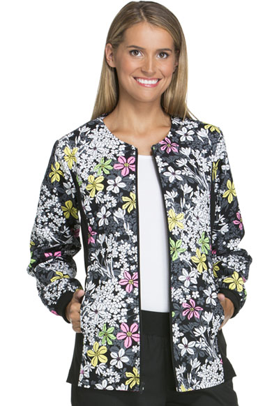 Cherokee Flexibles Women's Zip Front Knit Panel Warm-Up Jacket Bouquet Me Not