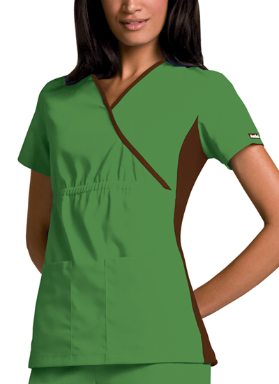 Cherokee Flexibles Women's Mock Wrap Knit Panel Top Green