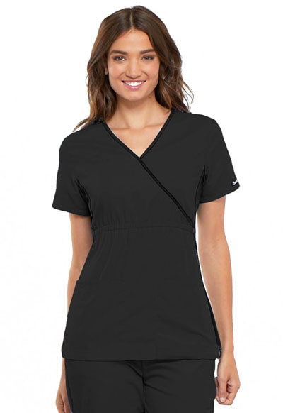 Cherokee Flexibles Women's Mock Wrap Knit Panel Top Black